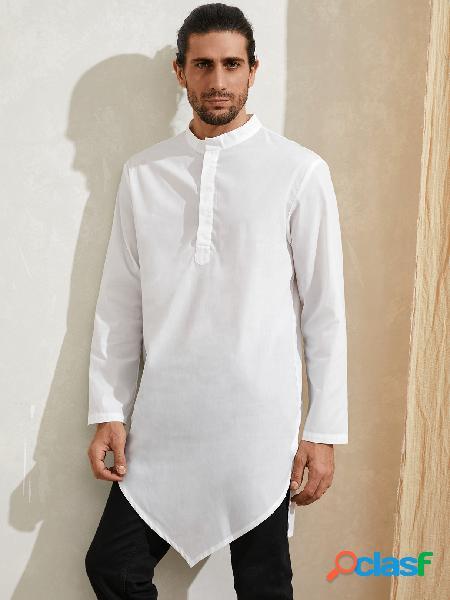 Homem casual outono colarinho simples irregular bainha estilo étnico médio camisa