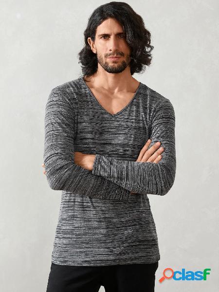 Masculino outono casual com decote em v liso soft camiseta de manga comprida