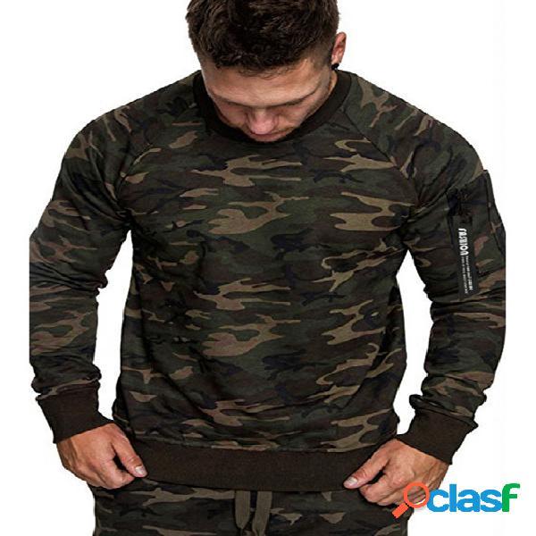 Masculino outono inverno casual soft simples camuflagem manga comprida t-shirt