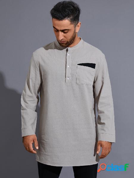 Bolso frontal masculino casual outono inverno com botão liso camisa
