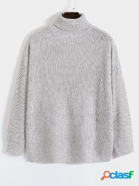 Camisola masculina de inverno quente casual bege manga comprida gola alta