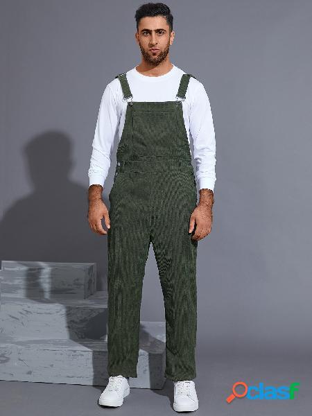 Macacões masculinos streetwear cor sólida veludo cotelê suspensórios macacões