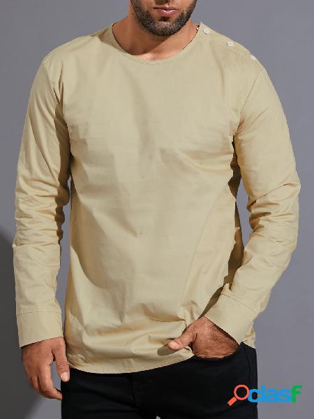 Masculino casual outono gola redonda design simples camiseta