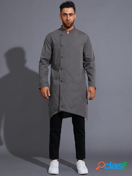 Masculino fall irregular suporte colarinho cor sólida botão frente camisa