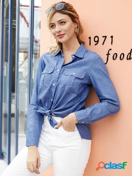 Yoins botão azul design classic blusa de gola mangas compridas