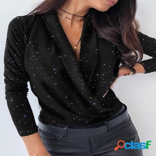 Brilho blusa lisa de mangas compridas com decote em v profundo