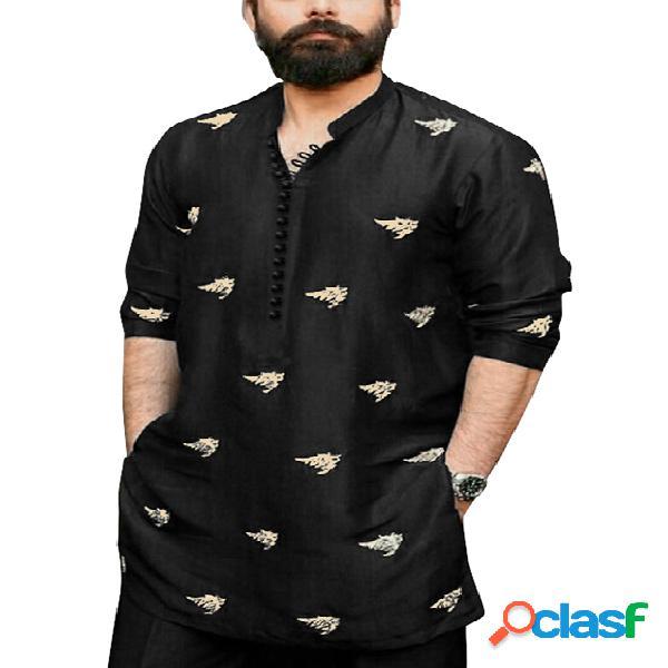 Homem casual colarinho estampa manga longa botão frente camisa