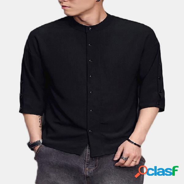 Incerun masculino outono casual colarinho liso manga comprida multi-botões camisa