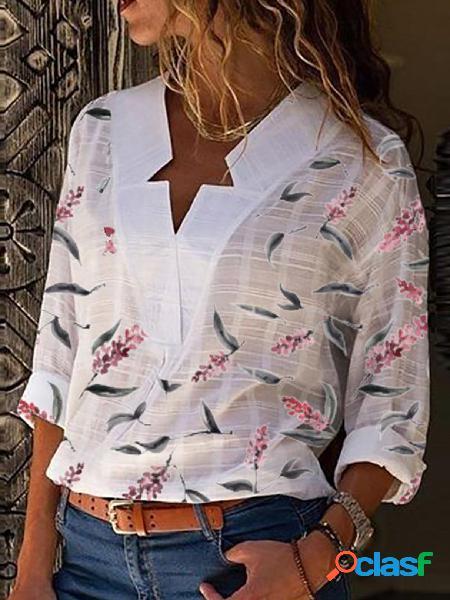 Yoins branco com estampa floral com decote em v, mangas compridas camisa