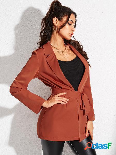 Yoins casaco de manga comprida laranja com cordões design gola lapela