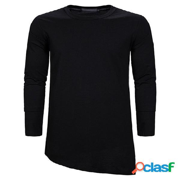 Camiseta masculina casual outono gola lisa midi irregular bainha
