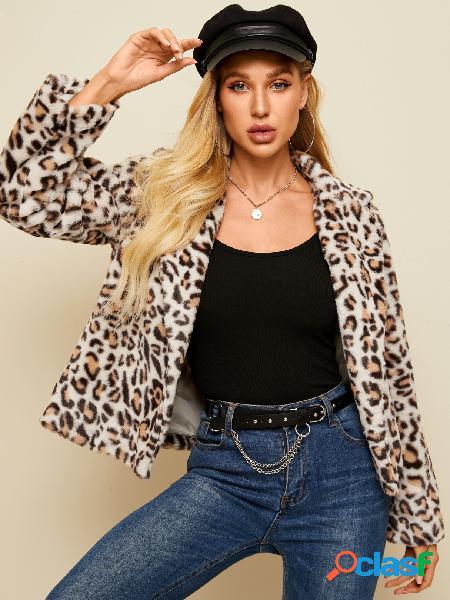 Yoins casaco de mangas compridas com gola de lapela leopardo marrom