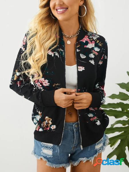 Yoins jaqueta de mangas compridas com estampa floral aleatória com gola