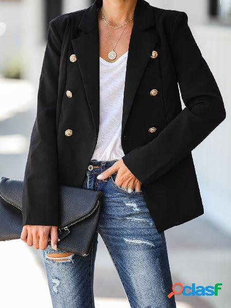 Botão design casaco de gola de lapela