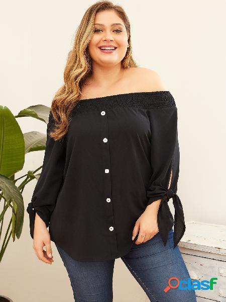 Yoins plus tamanho botão design blusa de manga comprida ombro