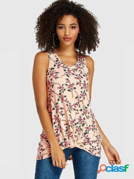 Rosa camiseta de alças com gola em v com estampa floral aleatória