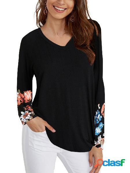 Yoins camiseta de mangas compridas em patchwork com estampa floral preta com decote em v