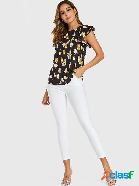 Yoins blusa de chiffon com estampa floral preta aleatória mangas com babado