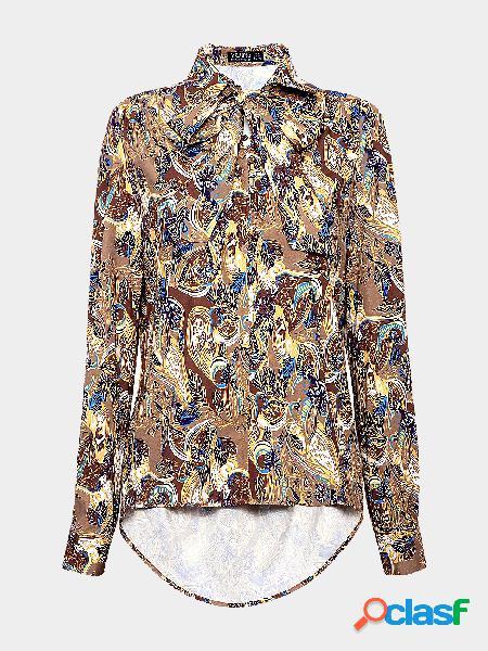 Camisa com estampa floral de colarinho amarrado