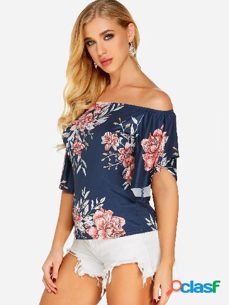 Blusa de manga curta com estampa floral marinho aleatório