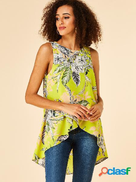 Yoins blusa sem mangas com estampa floral limão e gola redonda