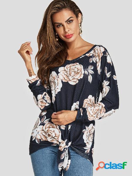 Blusa de mangas compridas com estampa floral marinha twist random com decote em v