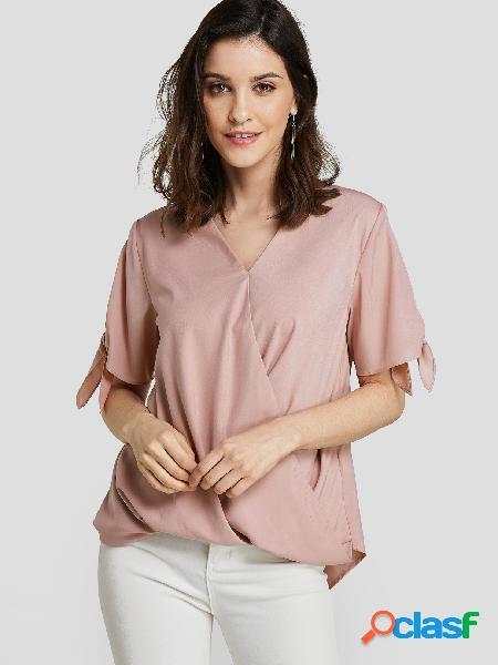 Rosa blusa bowknot com decote em v, manga curta, cintura solta