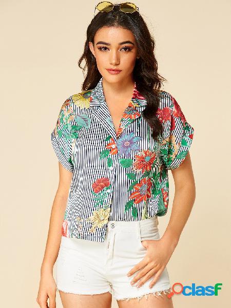 Yoins blusa de lapela com estampa floral listrada marinho