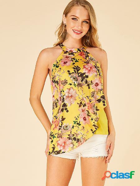 Yoins camisola em estampa floral de dupla camada amarela