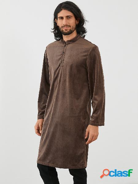 Colarinho de pé casual masculino liso comprimento médio camisa
