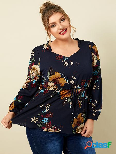 Yoins plus tamanho decote em v estampa floral blusa de mangas compridas com cordão