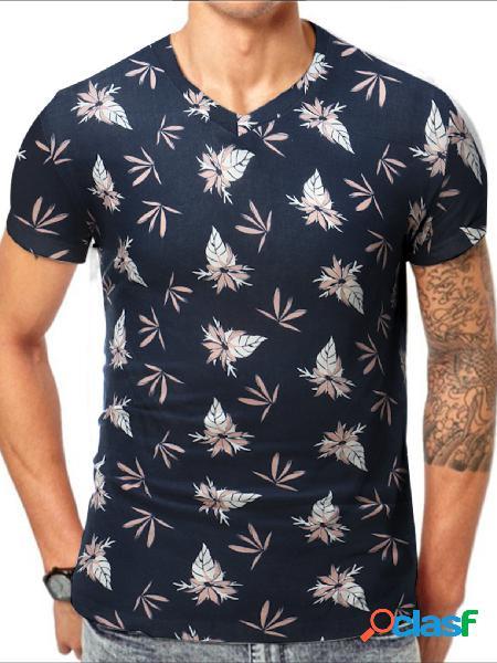 Masculino verão casual algodão soft floral all over print t-shirt com decote em v