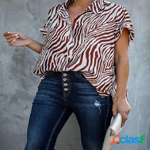 Zebra botão design classic blusa de manga curta com colarinho