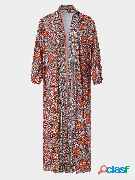 Casual print paisley 3/4 comprimento sleeves cardigan