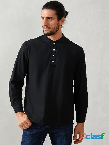 Yoins basics masculino outono casual colarinho simples manga longa camisa