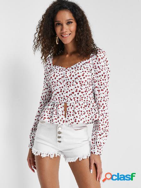 Blusa com estampa floral de cereja com babado branco