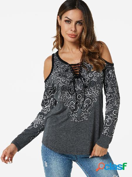 T-shirts com cordões cinza design com estampa floral aleatória de ombro frio
