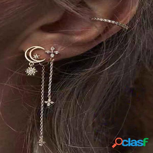 Borla de estrela de lua de strass metálico pingente brincos conjunto de gancho de orelha de diamante geométrico em forma