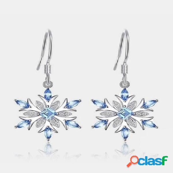 Flor de topázio azul claro brincos queda de floco de neve de strass geométrico brincos