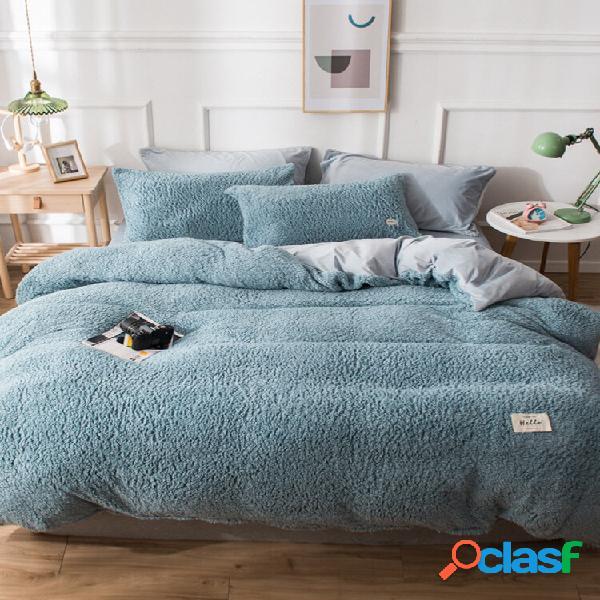 Conjunto de roupa de cama confortável com lençol de lã de cordeiro com 4 peças ab com lados de cor lisa e fronha de edre