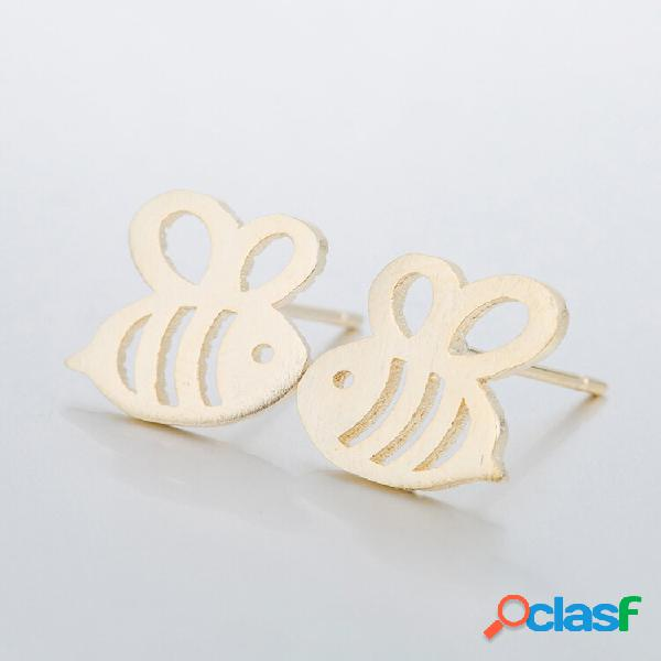 Parafuso de abelhas oco bonito brincos silver gold sweet insect orelha acessórios de parafuso prisioneiro para mulheres