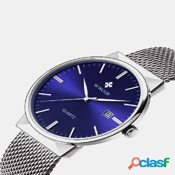 Wwoor luxo ultra fino quartzoo watch malha de aço inoxidável banda casual prata watches para homens