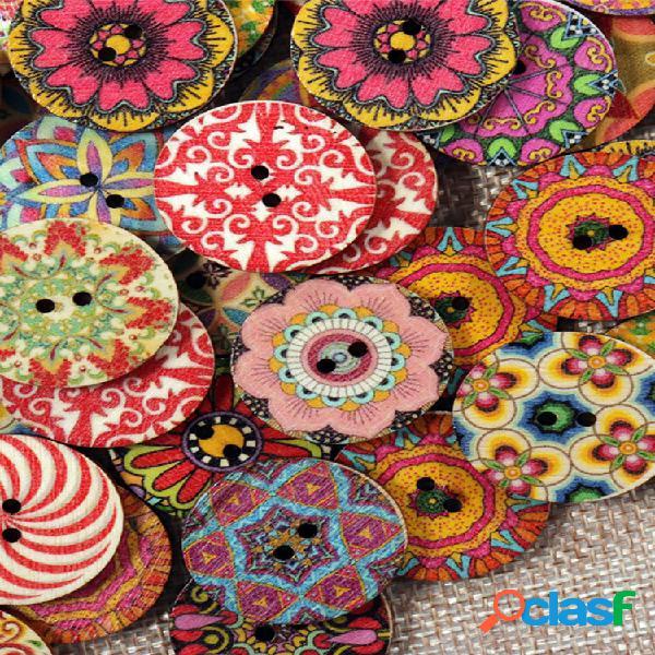 100 unidades flor de madeira botões redondo colorful costura decorativa lavável botões suprimentos de artesanato