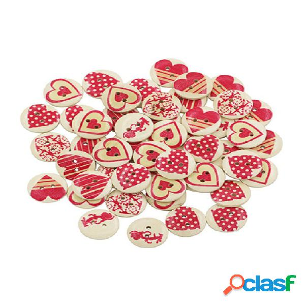 50 unidades 20 mm vermelho coração impressão redonda de madeira botões materiais de costura faça você mesmo