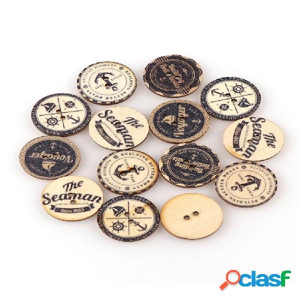50 unidades de estilo britânico vintage faça você mesmo de madeira botões materiais de costura faça você mesmo
