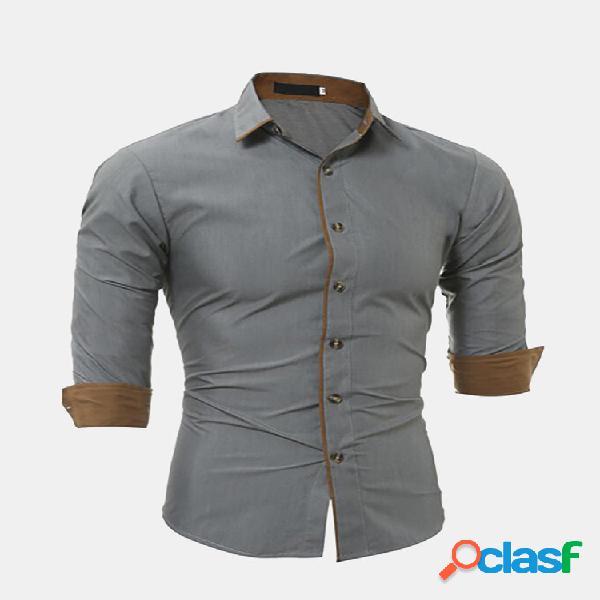 Camisas elegantes de design casual de cor sólida para homens