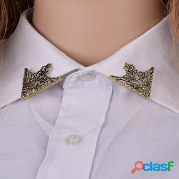 Moda retrô padrão alfinete de colarinho triangular masculino e feminino distintivo de alfinete de colarinho oco