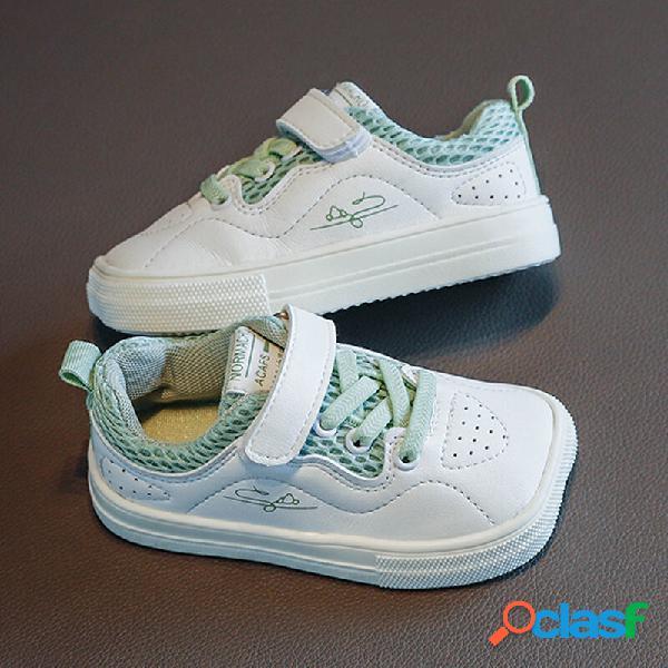 Unisex crianças respirável confortável antiderrapante soft casaul white trainers
