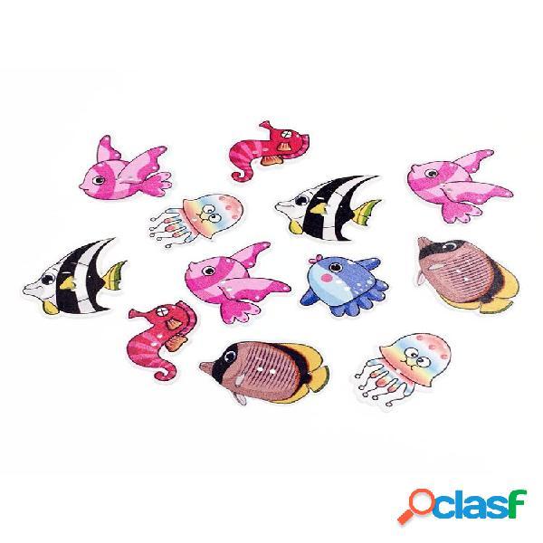 50 unidades de desenhos animados multicoloridos peixes bonitos de madeira botões materiais de costura faça você mesmo