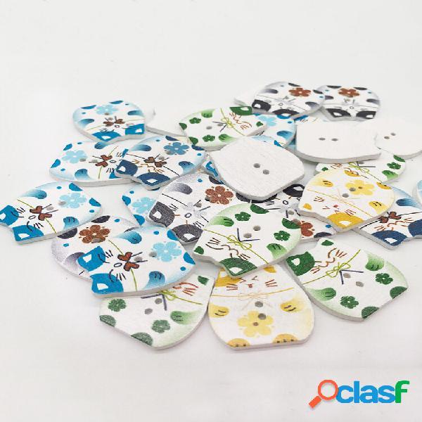 50 unidades pintadas lucky cat madeira botões carpintaria de cores misturadas diy vestuário costura botões scrapbooking